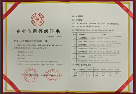 杏彩企业信用等级证书